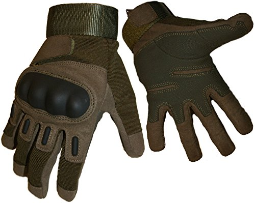 Crownover Tactical Gloves, Adjustable Full-finger Hard Knuckle Protection Military Shooting Outdoor Cycling Hunting Riding Airsoft Gloves