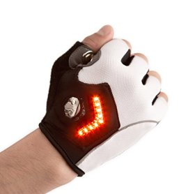 Zackees Award Winning LED Turn Signal Cycling Gloves with 4 Rechargeable Coincell Batteries + Charger, Leather Palms
