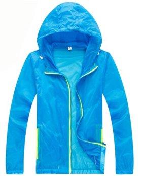 Z-SHOW Womens Super Lightweight Jacket Quick Dry Windproof Skin Coat-Sun Protection (Blue,2XL)