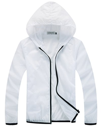 Z-SHOW Womens Super Lightweight Jacket Quick Dry Windproof Skin Coat-Sun Protection (White,M)