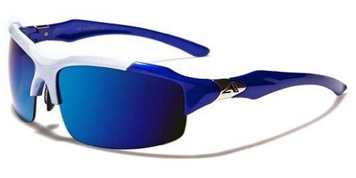 Arctic Blue Mens Fashion Sports Wrap Sunglasses – Blue Revo Lens – Fishing, Baseball, Boating, Skiing – Several Colors Available! (White – Blue)