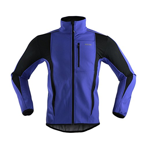 ARSUXEO Winter Warm UP Thermal Softshell Cycling Jacket Windproof Waterproof Bicycle MTB Mountain Bike Clothes 15-K Blue Size Medium