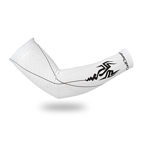 Eforcrazy UV Protection Cooler Arm Sleeves 1 Pair For Cycling/Golf/Hiking/Jogging Black white