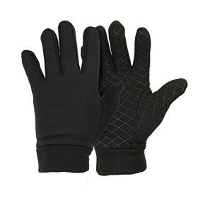 Men's Moisture Wicking Micro-fleece Running Sport Gloves – Color: Black Size: Large