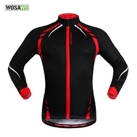 WOLFBIKE Thermal Fleece Cycling Jersey Shirt Casual Jacket Long Sleeve, Black Red, Size M