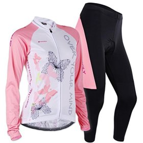 Sponeed Women's Cycle Jersey Bike Clothing Gel Padded Long Sleeve Butterfly Size L US Pink