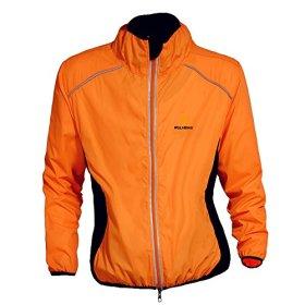 WOLFBIKE Cycling Jacket Jersey Sportswear Long Sleeve Wind Coat, Color: Orange, Size: L