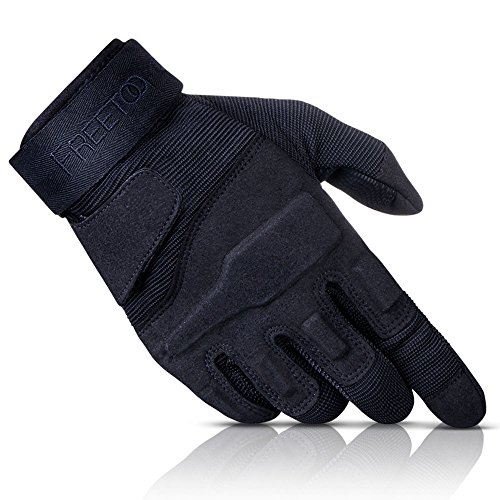 FREETOO® Reinforced Tactical Gloves Tan PU Leather + Nylon Outdoor/Fahrrad/Shooting/Driving with Adjustable Velcro