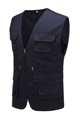 Geval Cotton Men's Multiple Pockets Photography Director Work Vest(Sapphire Blue, US L, Label XL)