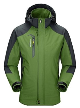 Cloudy Men's Spring Waterproof Front-Zip Hooded Rain Jacket(Grass Green,US S/Asian2XL)