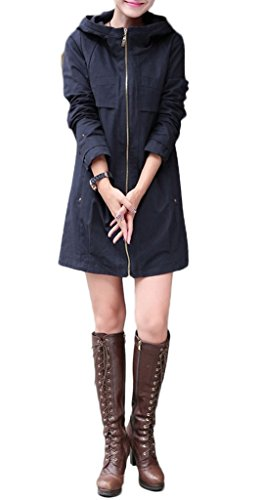 Z-SHOW® Women's Leisure Thin Loose Trench Coats(Navy,US XS/Asian M)