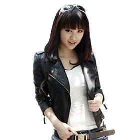 PATTONJIOE Women's Synthetic Leather Short Slim Motorcycle Jacket Black US XS