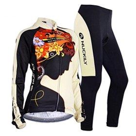 Sponeed Women's Cycle Jersey Bike Clothing Gel Padded Fresh Long Sleeve Size L US Multi