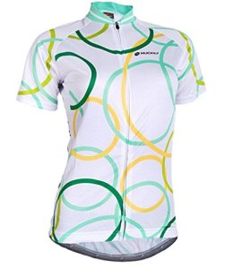 Nuckily Women's Short Sleeve Cycling Jersey Breathable Cycling Outdoor Sports Clothing Full Zip Sportswear