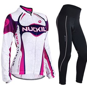 Nuckily Women's Cycling Long Sleeve Jersey Bike Bicycle Jersey Full Zip Sportswear