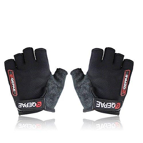 QEPAE ® Non-Slip Gel Pad Gloves Men's Women's Sportswear Cycling Riding Short Half Finger Gloves Breathable – XL Black