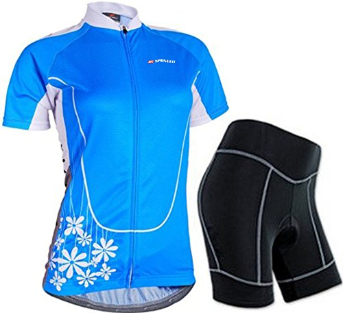 Sponeed Women's Cycle Jersey Bike Clothing Gel Padded Short Sleeve Mysteriousness Size L US Blue