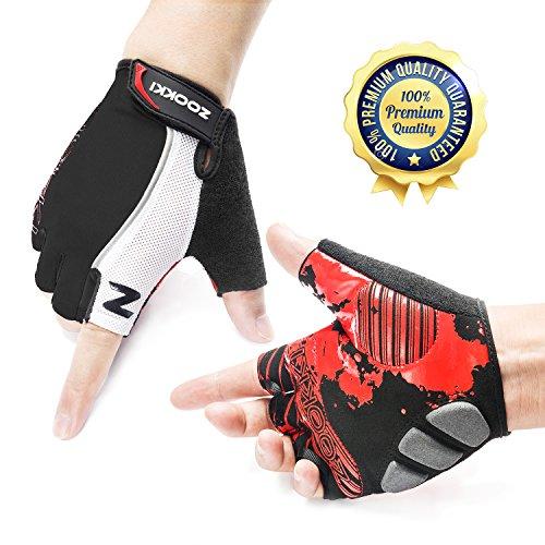 Zookki Cycling Gloves Mountain Bike Gloves Road Racing Bicycle Gloves Light Silicone Gel Pad Riding Gloves Half Finger Biking Gloves Men/Women Work Gloves