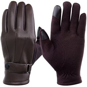 Wishstyle Winter Pu Leather Warm Touch Screen Gloves, Warp-knitted Velvet Cashmere Male Gloves in Moderate Size (Brown)