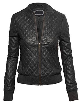 Women's Casual Zip Front Ribbed Trim Collarless Quilted Faux Leather Bomber Jacket