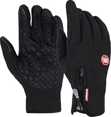Andyshi Men's Winter Outdoor Cycling Glove Touchscreen Gloves for Smart Phone (Black, XL)