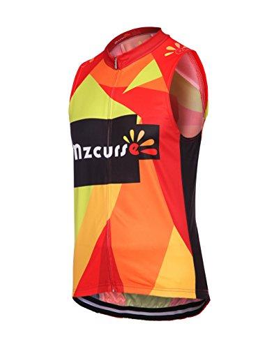 Mzcurse Men's Bicycle Cycling Short Shirt Jersey Shorts Suit Kit Set (Color Vest, Large,please check the size chart)