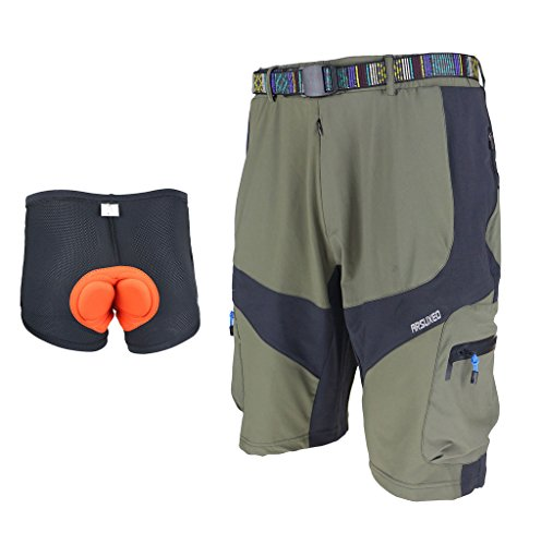 ARSUXEO Mountain Bike MTB Cycling 3D COOLMAX Padded Loose Fit Shorts