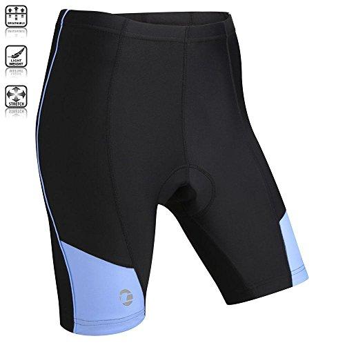 Tenn Ladies Coolflo 8 Panel Padded Cycling Shorts – Black/Placid Blue – 14-16