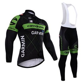 Outcycling Thermal Men's Long Sleeves Cycling Jacket and Winter Padded Bib Pants Leggings Tights Set