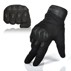 Freetoo Men's Hard Knuckle Full Finger Military Gear Tactical Gloves,XXL,Black Fullfinger