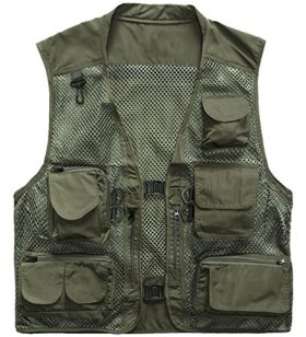 Z-SHOW Men's Spring And Summer Fishing And Photography Work VestGarment Mesh(Green,Small)