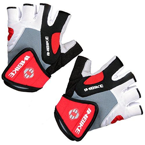 Inbike 5mm Gel Pad Half Finger Bike Bicycle Cycling Gloves (Red, Large)
