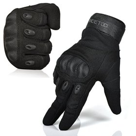 FREETOO® Mens Tactical Gloves Hard Knuckle Full Finger Adjustable Outdoor Sport/Fitness Black L