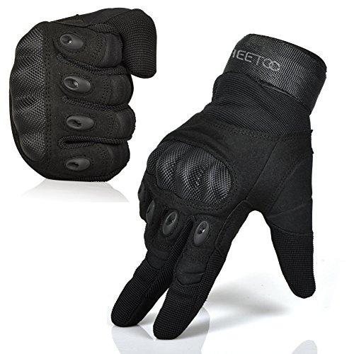 FREETOO® Mens Tactical Gloves Hard Knuckle Full Finger Adjustable Outdoor Sport/Fitness Black L