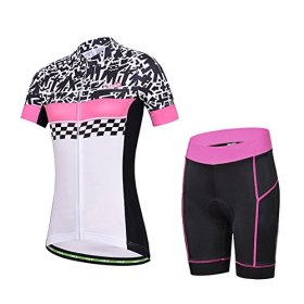 Baleaf Women's Short Sleeve Cycling Jersey 3D Padded and Shorts Set Doodle Style Size L