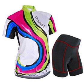 Sponeed Women's Cycle Jersey Bike Clothing Gel Padded Racing Short Sleeve Size S US Multi