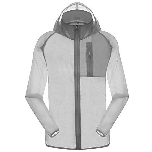 Men's Outdoor Anti UVA UPF 30+ Waterproof Quick-dry Thin Windbreaker Jackets Grey CN Tag M – US XS