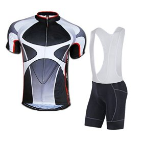 Sponeed Men's Bicycle Jersey Polyester and Lycra Ride Jerseys Bibs Asia L/US M Gray