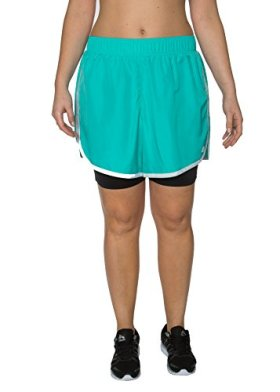 RBX Active Plus Size 2-in-1 Bike and Track Fitness Short,Ocean Blue,3X Plus