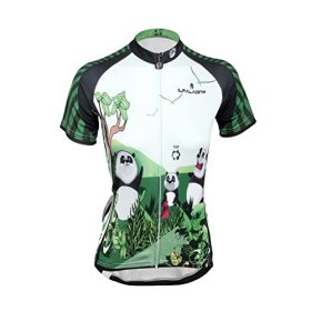 QinYing Panda Printing Short Sleeve Bicycle Cycling Jersey for Women Tag L=US S