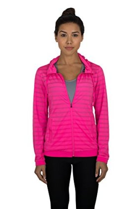 RBX Active womens Ventilated Jacquard Mesh Full Zip Hoodie,Pink,Medium