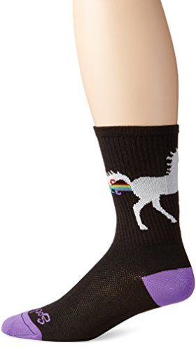 SockGuy Men's Unicorn Express Socks, Black, Large/X-Large