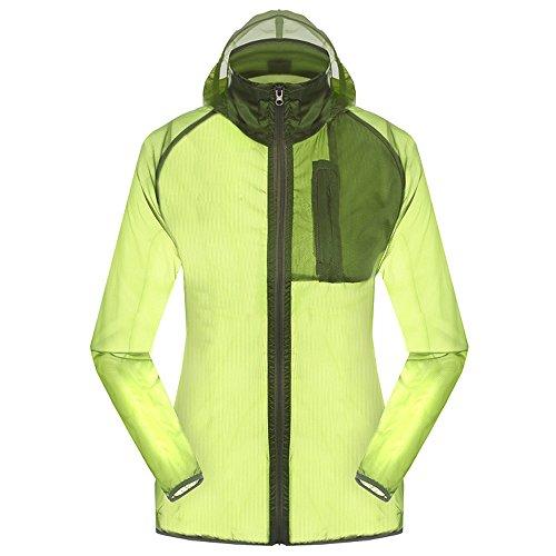 Women's Outdoor Anti UVA UPF 30+ Waterproof Quick-dry Thin Windbreaker Jackets Green CN Tag 3XL – US XL