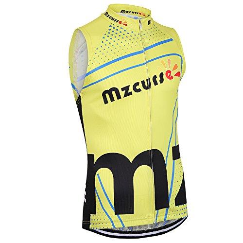 Mzcurse Men's Team Mountain Bike Cycling Short Shirt Jersey Shorts Suit Kit Set (Yellow Vest, X-Large,please check the size chart)