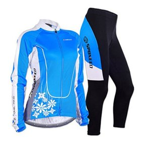 Sponeed Women's Cycle Jersey Bike Clothing Gel Padded Long Sleeve Mysteriousness Size M US Blue
