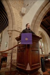 John-Paul tries out the pulpit