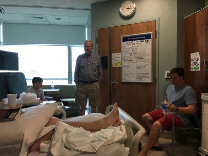 Boys and dad visiting; the original room in Duke Hospital
