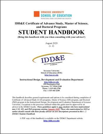IDDE Student Handbook 2020 front page