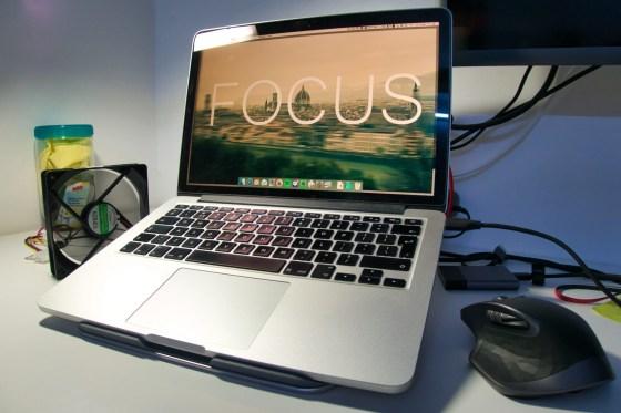 Xuenair Macbook Pro stand - Laptop is rock solid stable. Screen is higher