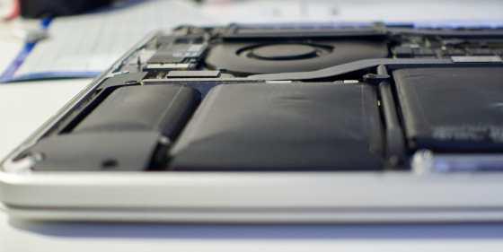 A swollen original Apple Macbook Pro battery